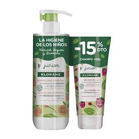 Klorane Junior Peach Detangling Shampoo 500Ml + Pear Shower Gel 200Ml